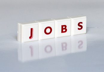 The word Jobs written with red letters