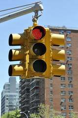 Red Traffic Light in Manhattan