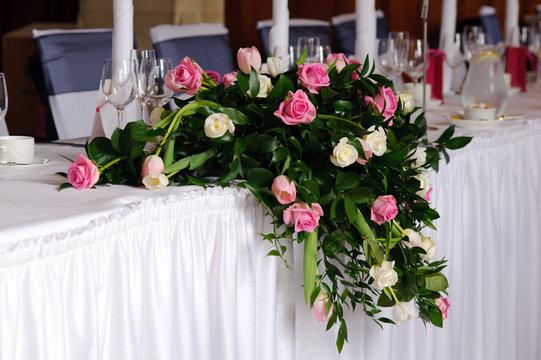 Wedding flowers on head table