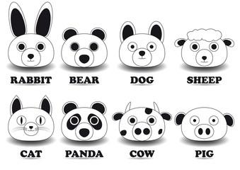 set animal face icons