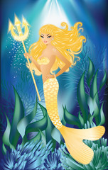 Gold Mermaid with trident, vector illustration