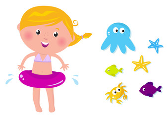 Cute swimmer girl and ocean animals icons. VECTOR