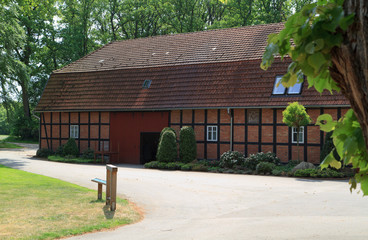 Antique restored half-timbered farmhouse in North Rhine-Westphal