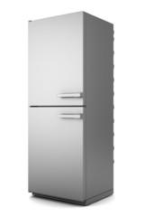 single modern gray refrigerator isolated on white background
