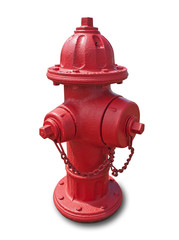 Red fire hydrant isolated on white