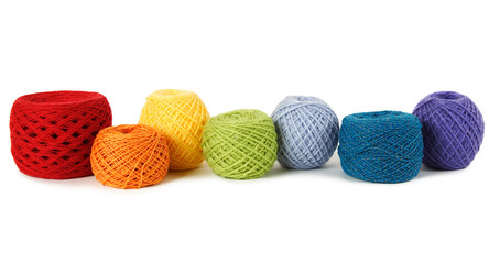 many multicolored clews in a row, isolated
