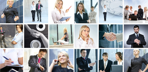 A collage of image with young and smart business people