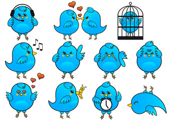 blue bird icon set, vector