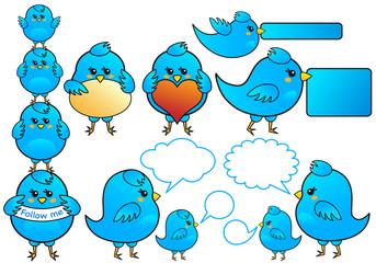 Poster de jardin Oiseaux en cage blue bird icons, vector