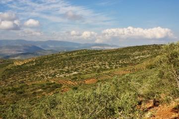aerial view of Galilee and Jordan valley, Israel