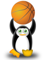 playing basketball with the penguin