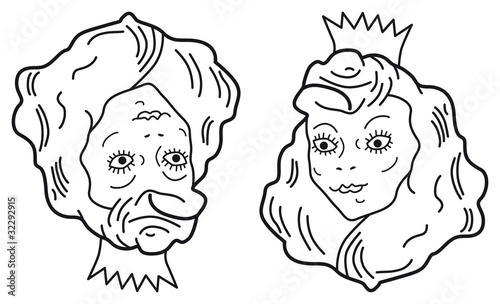 Optical Illusion Young Beautiful Princess Or Old Ugly Woman Stock