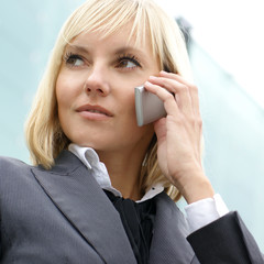 Portrait of a young businesswoman talking on the mobile phone