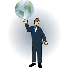 Business symbol-man spinning world