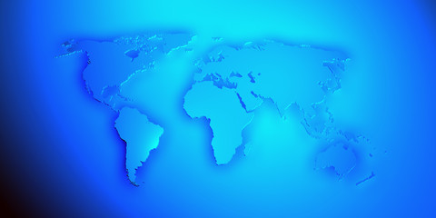 World map render 3D in blue