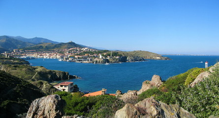 Panoramic view over Mediterranean bay of Port-Vendres, Roussillon, Pyrenees Orientales, Vermilion coast, France