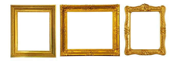Set of few gold frame