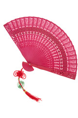 Chinese fan with traditional knot isolated on white background