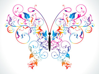 abstract colorful rainbow floral butterfly