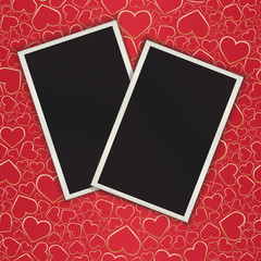 Two photograces on seamless a background with hearts. eps10
