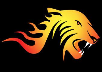 powerful burning tiger