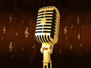Golden Microphone on old background