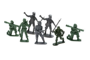 plastic toy soldiers on white