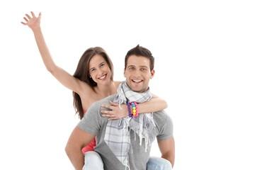 Boyfriend holding laughing girl waving