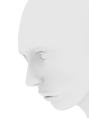 Human face in white