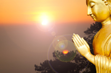 Thailand Buddha Statue in Twilight time.