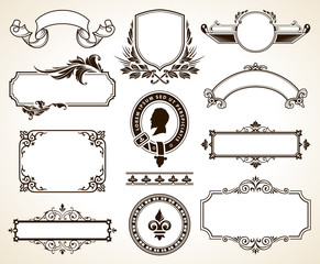Vector set of ornate frames and calligraphic design elements