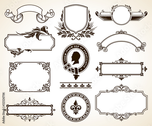 Vector set of ornate frames and calligraphic design elements\