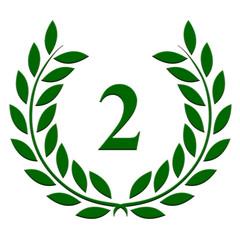 Lauriers verts en relief pour le deuxième