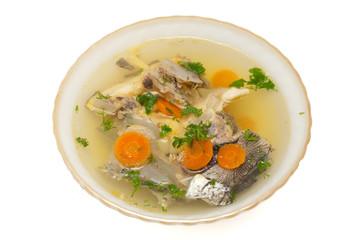 fish soup with sturgeon and leek