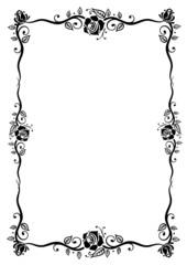 Rosen, Rahmen, Ranke, Blumen, Blüten, Blätter, schwarz