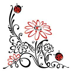Ranke, flora, Blumen, Blüten, Marienkäfer, rot, schwarz