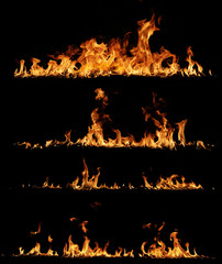 Photo sur Plexiglas Feu, Flamme High resolution fire collection, isolated on black background
