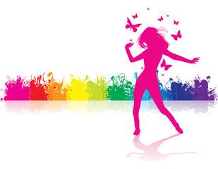 a girl dancing on a splash background