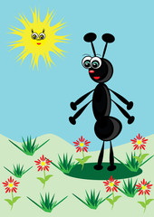 Cheerful animated small ant