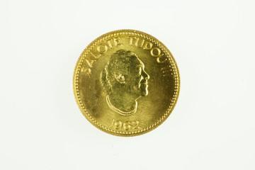 Tonga quarter koula gold coin of Queen Salote Tupou III,obverse