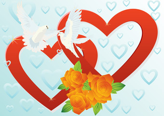 Two hearts and two doves