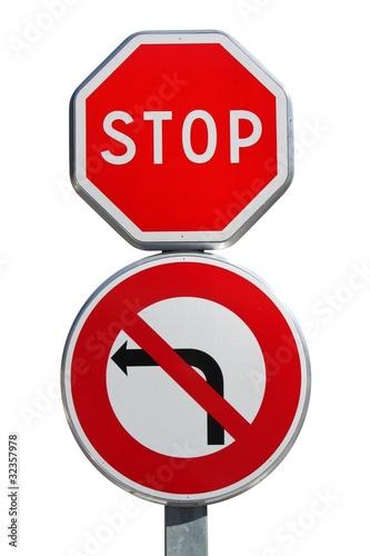 Panneau 39 stop 39 avec interdiction de tourner gauche ph - Prix d un panneau stop ...