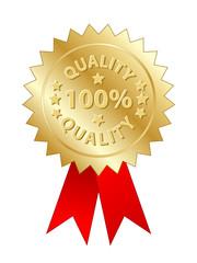 """100% Quality"" Label (gold badge stamp awards medal guarantee)"