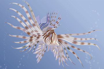 Illustration of an exotic lion fish swimming underwater