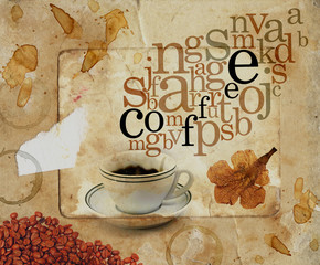 Coffee cup with letters over stained sepia paper