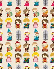 cartoon Medieval people seamless pattern