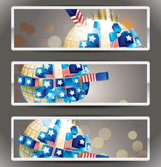 Vector banners.Exploding sphere with American symbols