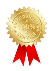 """100% Service"" Label (gold badge stamp awards medal quality no1)"