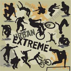 set silhouettes urban extreme sports