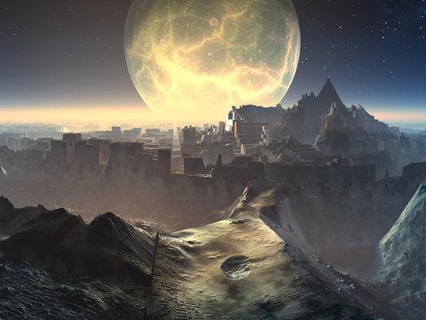 Alien City Ruins by Moonlight